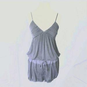 Aritzia Wilfred Blue Gray Cami VNeck Romper Shorts